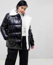 High Shine Padded Jacket With Faux Fur Lining