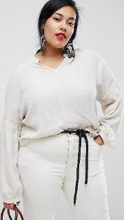 Long Sleeve Ruched Detail Blouse