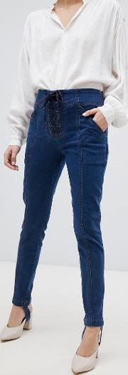 skinny jean with stirrup and lace  detail