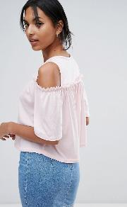 cold shoulder top with wide sleeve