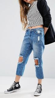distressed jeans with embroidered knee