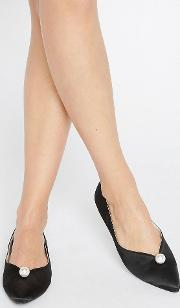 faux pearl black point flat shoes