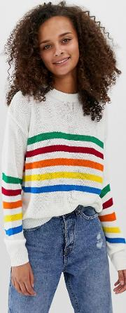 Jumper With Rainbow Stripe Panel