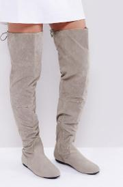 lace back grey over the knee boots