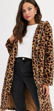 Longline Coat With Zip Front And Hood Leopard Print Faux Fur