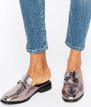 metallic backless loafers