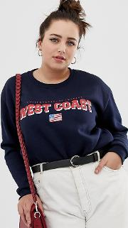Boyfriend Sweatshirt With West Coast Print