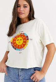 Relaxed Crop T Shirt With Sun Graphic