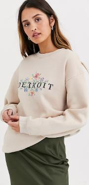 Relaxed Sweatshirt With Vintage Detroit Print