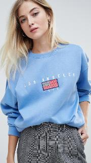 Relaxed Sweatshirt With Vintage Los Angeles Embroidery