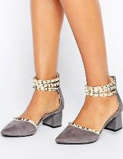 stud ankle strap mid heeled shoes