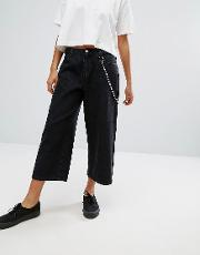 wide leg skater jeans with chain