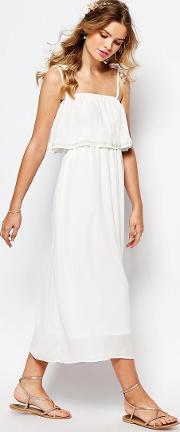Cami Layered Maxi Dress With Embellished Neckline