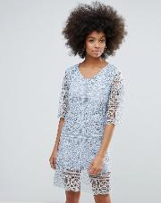 3/4 sleeve crochet lace shift dress