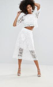 crochet lace midi skirt