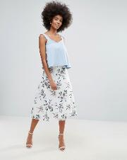 Floral Embroidered Mesh  Line Skirt