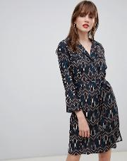 Geo Print Belted Shirt Dress
