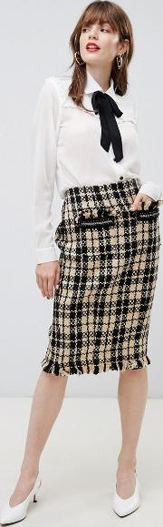 textured checked pencil skirt