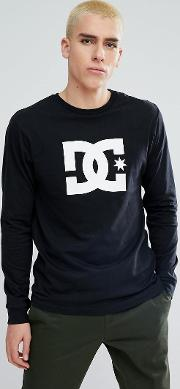 long sleeve t shirt with star logo in black