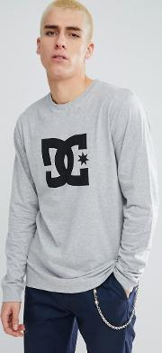 long sleeve t shirt with star logo in grey