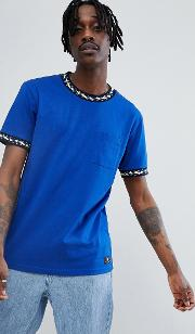t shirt with neck taping detail  blue