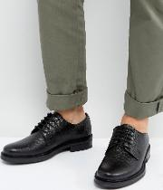 Derby Shoes  Black Pebble Leather