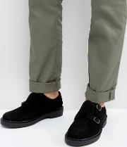 monk shoes in black suede