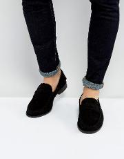 penny loafers in black suede