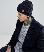 ribbed beanie hat in navy