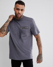 t shirt with strap zip pocket