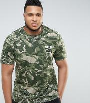 camo t shirt with paint splatter exclusive to asos