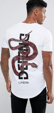 t shirt with back snake embroidery