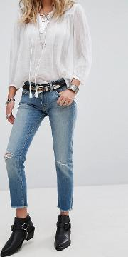 Cropped Skinny Jeans With Distressing
