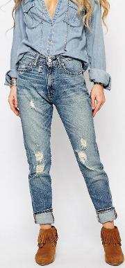 Hi Waist Jeans With Distressed Detail