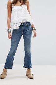 Madison Exposed Button Cropped Jeans