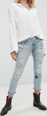 Slim Boyfriend Jeans With Distressing And Star Detail