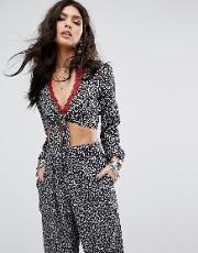 tie front bell sleeve cropped printed co ord top