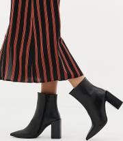Leather Block Heeled Boots