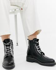 Leather Chunky Lace Up Boots