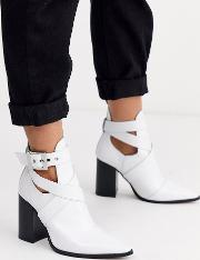 Leather Cut Out Heeled Ankle Boots