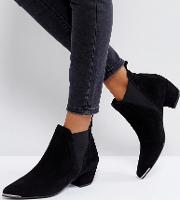 Leather Mid Heel Point Boots