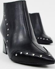 Leather Pointed Heel Ankle Boots