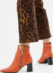 Leather Side Zip Heeled Boots