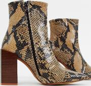 Leather Snake Block Heeled Boots