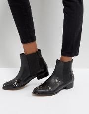 Leather Star Studded Boots