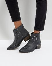 Leather Studded Western Boots