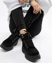 suede chunky sole hi top trainers