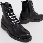 Wide Fit Leather Chunky Lace Up Boots