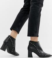 Wide Fit Leather Pointed Heel Ankle Boots
