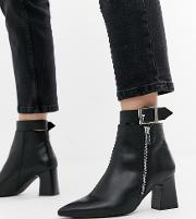 Wide Fit Leather Side Zip Heeled Boots